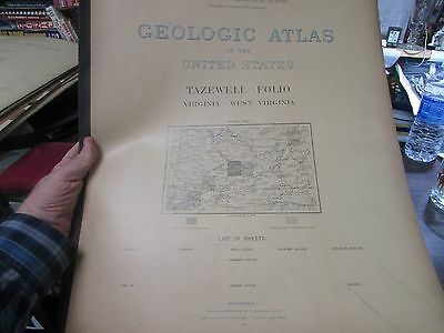 Antique - Geological Atlas Of The U.s. - Tazewell  Va - Wv  Folio  - 1897