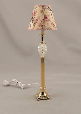 Dollhouse Miniature Gold Crystal Floor Lamp Lighted Electric 12V 1:12 Floral
