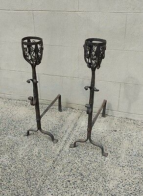 Pair Large Antique Wrought Iron Andirons