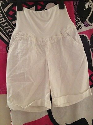New Size 8 White Linen Mix Maternity Shorts Blooming Marvellous Range Mothercare