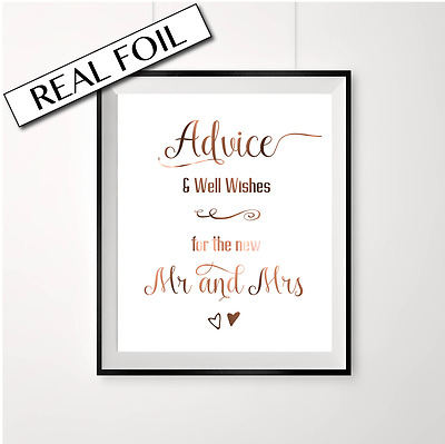 Advice and well wishes // copper wedding // real foil sign / Mr and Mrs / Swirly