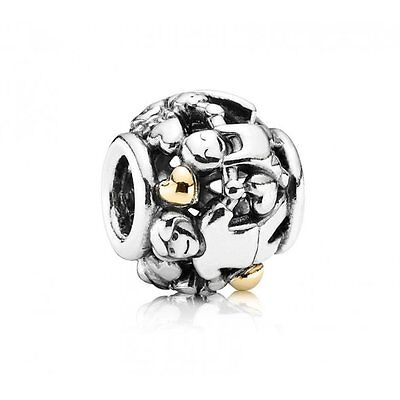 Genuine Pandora Silver and 14ct gold Family Charm Dangle
