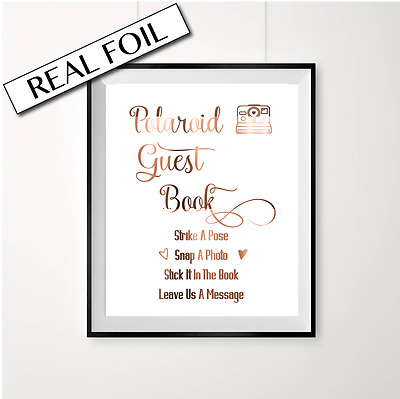 Polaroid guest book sign // Wedding sign // Copper foil sign / Polaroid / Swirly