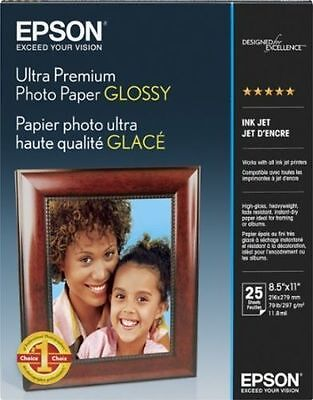 "Epson Ultra Premium Photo Paper Glossy - 25 Full Sheets - 8.5"" X 11""   #1 Choice"