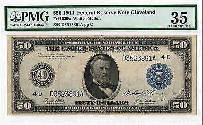 $50 1914 Federal Reserve Note Cleveland, FR-1039a PMG-35