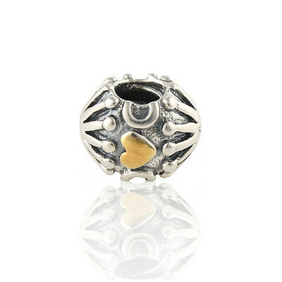 Genuine Pandora Sterling Silver And 14Ct Gold Heart Design Charm Bead