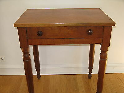 Antique solid walnut side table. Early 20th or late 19th century.