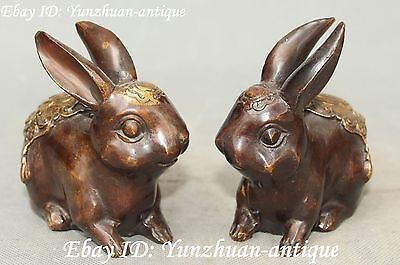 Marked Bronze Gilt Feng Shui Wealth Hare Rabbit Cony Lapin Animal Statue Pair