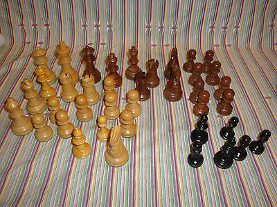 "Lot Rosewood Galaxy Staunton Style Wooden Chess Pieces 3"" King   Incomplete Set"