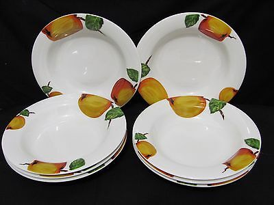 Lot of 8 Kitsch Retro Looking Royal Vale Peach Fruit Soup Dessert Bowls Dishes