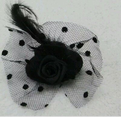 Flower Hair Clip Feathers Small Mini Top Hat Fascinator size - 5cm