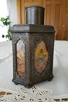 """Antique Chinese Tea Caddy Jar 6 Painted Panels of Asian Life 7""""×4.75""""×3"""" Marked"""