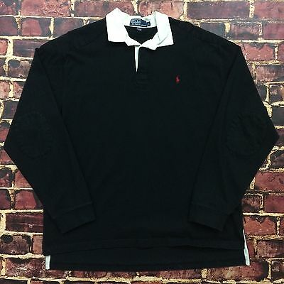 Vintage 90s Polo Ralph Lauren Padded Rugby Shirt L Large L/S Tee