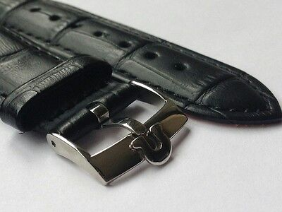 20Mm Omega Genuine Leather Watch Strap Black Stainless Steel Plated Buckle
