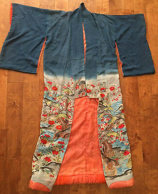 Antique Japanese Late Edo period Silk and Gold thread Embroidered  Kimono