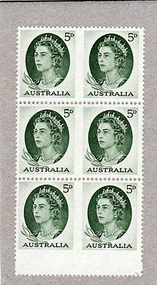 1963 AUST STAMP BOOKLET IMPERF PANE QUEEN ELIZABETH ll GREEN 6 x 5d STAMPS MUH