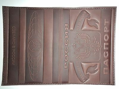 Russian Genuine Leather Passport Holder Handcrafted ID Document Cover DarkBrown1