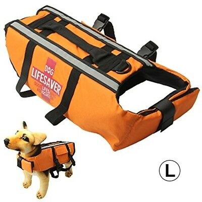 Dog Life Vest Jacket For Swimming Boating Surfing - High Visibility Orange Pet