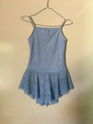 Ice Skating Costume-Blue & Silver Lycra-Child 9/10 New (Can be made in any Size)