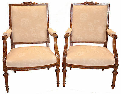 Authentic Antique Pair of French Louis XVI Walnut Bergere Chairs, 19th c.