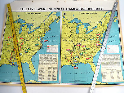 Vintage United States Modern School Supply 2 Sided Map United States Civil War