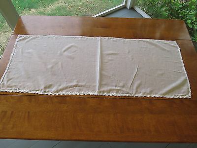 Antique Sheer White Cotton Table Runner w/ Lace Edge Hand Applied