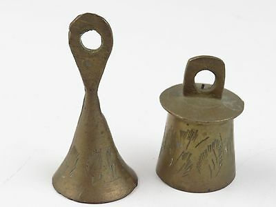 "Antique Vintage Brass Bell Lot of 2 Indian Asian Oriental 2.5"" BEAUTIFUL Sound"