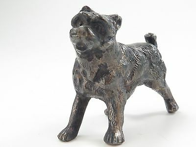 Antique or VTG Cast METAL Miniature  Dog Terrier FIGURINE  Sculpture Art