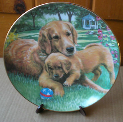 Danbury Mint Golden Retrievers TENDER TOUCH Plate Limited Edition Numbered