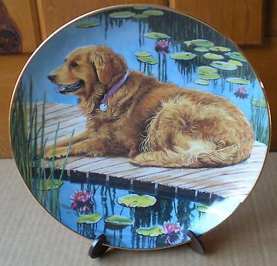 Danbury Mint Golden Retrievers DOCKSIDE RETRIEVER Plate Limited Edition Numbered