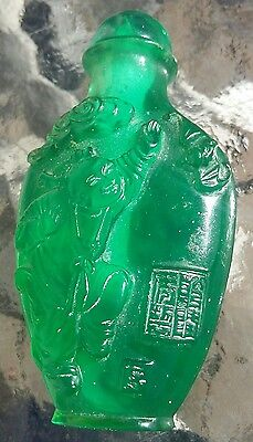 Vintage Green Glass Snuff Bottle
