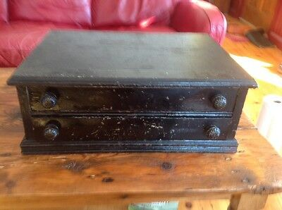 Antique Black 2 Drawer Spool Cabinet With Ornate Drawer Pulls