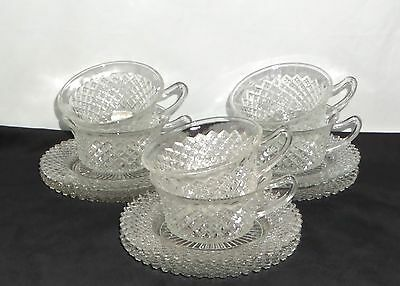 6 Anchor Hocking MISS AMERICA CRYSTAL *CUPS & SAUCERS*