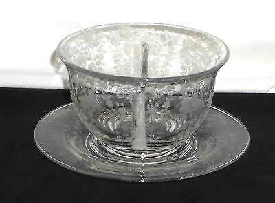 """Cambridge DIANE CRYSTAL *5"""" DIVIDED MAYONNAISE BOWL w/LINER*"""