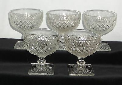 """5 Anchor Hocking MISS AMERICA CRYSTAL *3 3/4"""" SHERBETS*"""