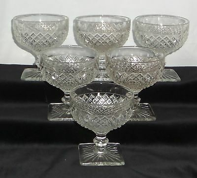 """6 Anchor Hocking MISS AMERICA CRYSTAL *3 3/4"""" SHERBETS*"""