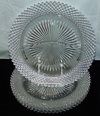 """4 Anchor Hocking MISS AMERICA CRYSTAL *10 1/4"""" GRILL PLATES*"""