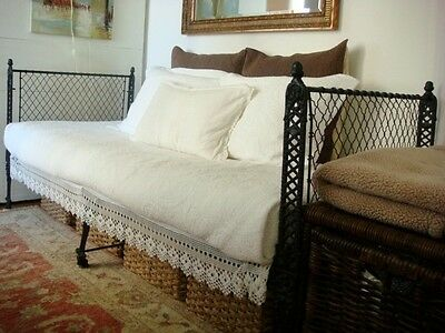 19th Century Cast Iron Folding Campaign Bed / Day Bed
