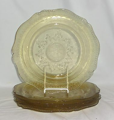 """6 Federal PATRICIAN AMBER *10 1/2"""" DINNER PLATES*"""