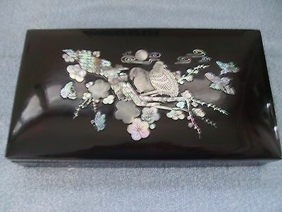 Antique Korean black lacquer smoking box with mother-of-pearl inlay