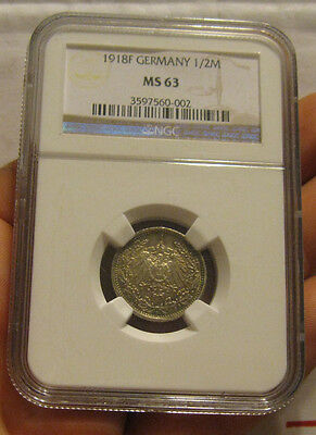 Germany - 1918-F Silver 1/2 Mark (NGC MS 63)