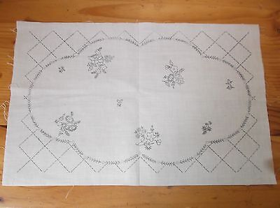 Unworked Linen Mats (2) To Embroider. Floral Design