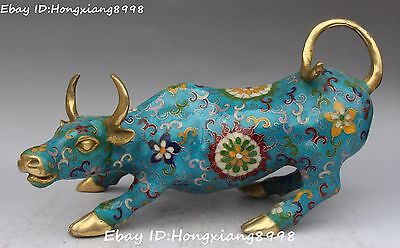 Rare China Cloisonne Enamel Gilt Fengshui Ox Oxen Cattle Cow Bull Animal Statue