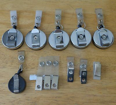 Retractable Reel Pull Cord Belt Clip On Id Badge Holder Key Ring Key Chain Lot