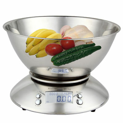 New 5kg x 1g Capacity Stainless Steel Digital Kitchen Electronic Food Bowl Scale