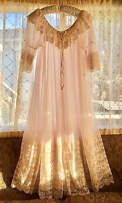 VTG Sheer PINK CHIFFON INTIME NIGHTGOWN Peignoir ROBE Excellent! Large