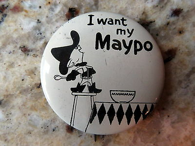 1960s Marky Maypo TV Commercial Pinback Button Breakfast Cereal Premium Nice!