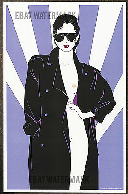 1980's Patrick Nagel Authentic Pin-Up Poster Art Print 11x17 Girl In Overcoat