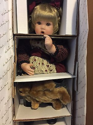 """Collectible doll """"Penny"""" 17"""" tall by Cindy Rolfe The Danbury Mint with COA +box"""
