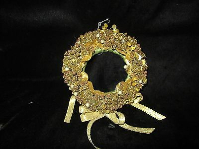Vintage Small Gold Christmas Wreath - Home Made - Beads & Sequins